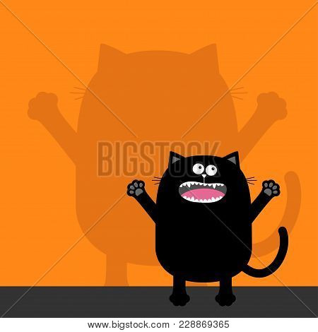 Screaming Cat Silhouette Looking Up. Wall Shadow Shade. Two Eyes, Teeth, Tongue, Spooky Hands. Black