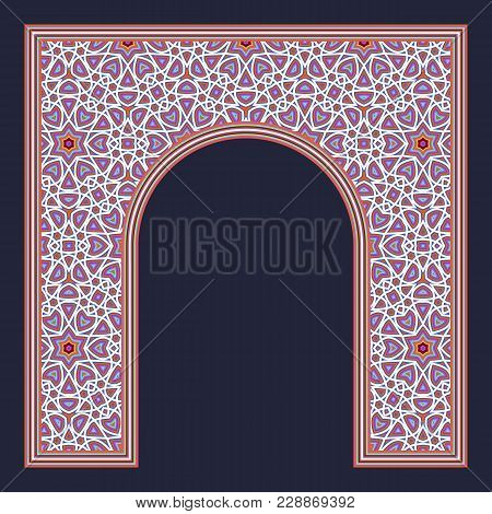 Patterned Arched Frame In Oriental Traditional Style. Colorful Arch For Greeting Card Design.