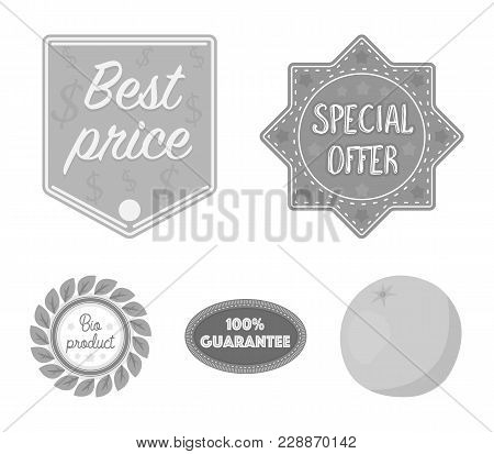 Special Offer, Best Prise, Guarantee, Bio Product.label, Set Collection Icons In Monochrome Style Ve