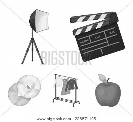 Movies, Discs And Other Equipment For The Cinema. Making Movies Set Collection Icons In Monochrome S