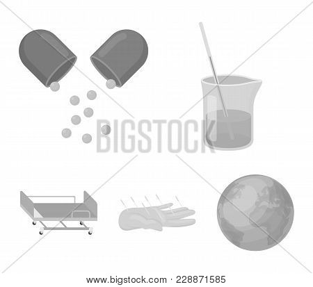 Solution, Tablet, Acupuncture, Hospital Gurney.medicine Set Collection Icons In Monochrome Style Vec