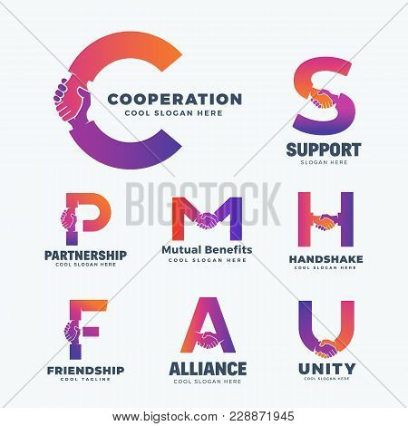 Handshake Letters Abstract Vector Sign, Symbol Or Logo Templates Set. A Collection Of Hand Shake Inc