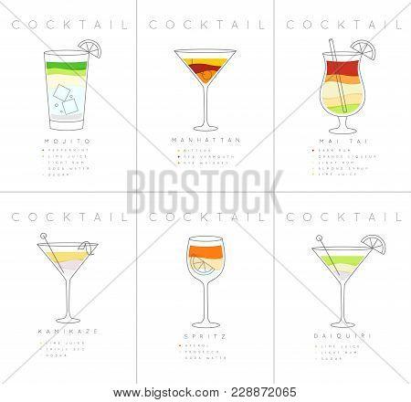Set Of Flat Cocktail Posters Mojito, Manhattan, Mai Tai, Kamikaze, Spritz, Daiquiri Drawing On White
