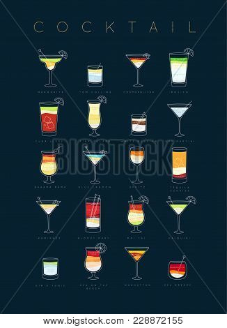 Poster Flat Cocktails Menu With Glass, Recipes And Names Of Cocktails Drinks Drawing On Dark Blue Ba