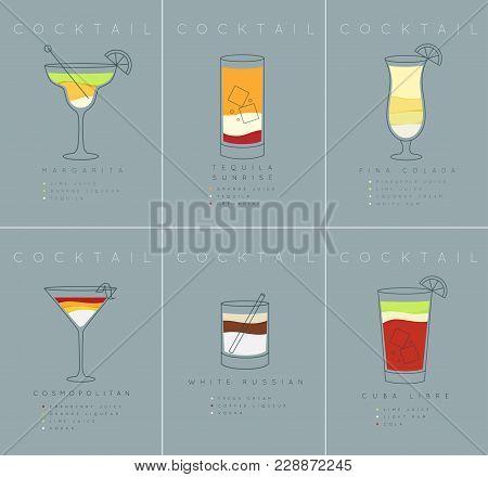 Set Of Flat Cocktail Posters Margarita, Tequila Sunrise, Pina Colada, Cosmopolitan, White Russian, C