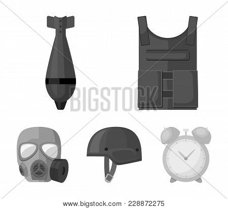 Bullet-proof Vest, Mine, Helmet, Gas Mask. Military And Army Set Collection Icons In Monochrome Styl