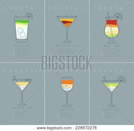 Set Of Flat Cocktail Posters Mojito, Manhattan, Mai Tai, Kamikaze, Spritz, Daiquiri Drawing On Grayi