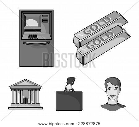 Gold Bars, Atm, Bank Building, A Case With Money. Money And Finance Set Collection Icons In Monochro