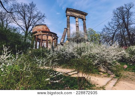 April, 10th, 2017 - Potsdam, Brandenburg, Germany. Antique Roman Ruins, Columns And Spring Blossomin