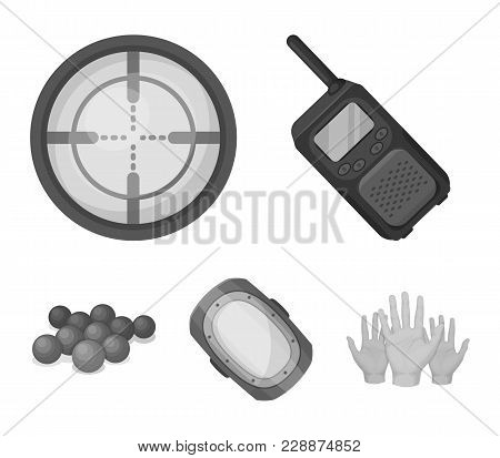 Balls With Paint And Other Equipment. Paintball Single Icon In Monochrome Style Vector Symbol Stock