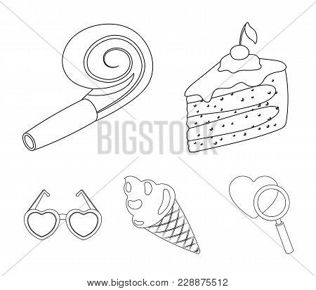 Refreshments And Other Accessories At The Party.party And Partits Set Collection Icons In Outline St