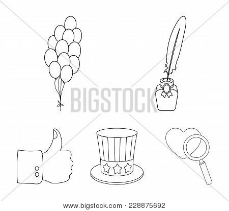 Balloons, Inkwell With A Pen, Uncle Sam's Hat. The Patriot's Day Set Collection Icons In Outline Sty