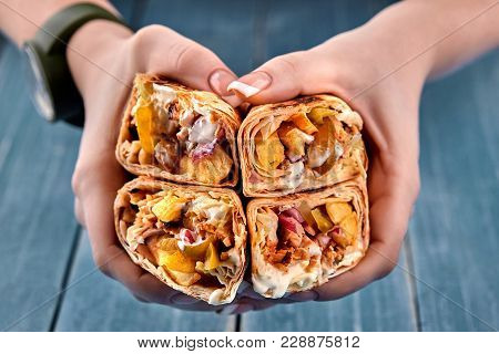 Middle Eastern Chicken Shawarma, Pita Sandwich, Chicken Roll In A Pita With Fresh Vegetables, Cream