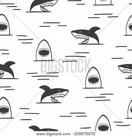 Seamless Sharks Pattern. Shark Attack, Black And White Vector Illustration.