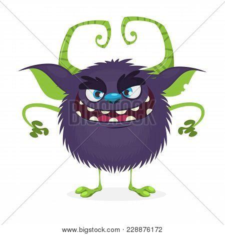 Angry Cartoon Black Monster.  Halloween Character. Vector Illustration.