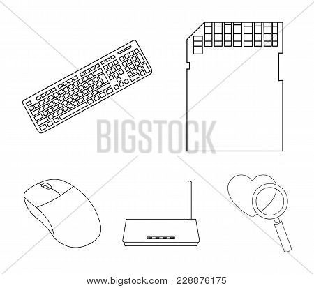 Router, Computer Mouse And Other Accessories. Personal Computer Set Collection Icons In Outline Styl