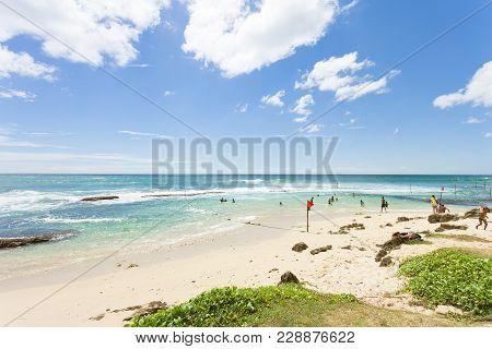 Koggala Beach, Sri Lanka, Asia - December 2015 - Native People At Koggala Beach Enjoying Their Leisu