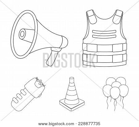 Bulletproof Vest, Megaphone, Cone Of Fencing, Electric Shock. Police Set Collection Icons In Outline