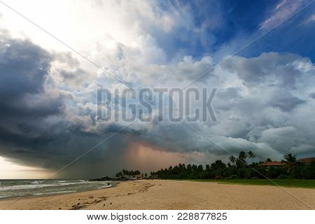 Ahungalla Beach, Sri Lanka, Asia - Impressive Thunderstorm During Sunset At The Beach Of Ahungalla