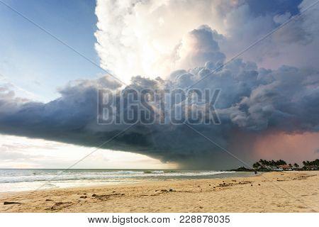 Ahungalla Beach, Sri Lanka, Asia - A Gigantic Storm Cloud Above The Beach Of Ahungalla