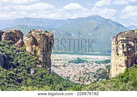 View Of  Holy Trinity Monastery (agia Triada).  Meteora Monasteries, Greece.