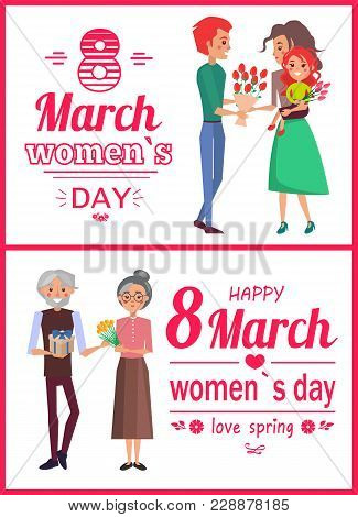 8 March Womens Day Posters, Men Giving Presents To Wives, Granny And Grandfather With Present, Fathe