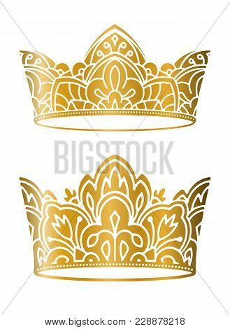 Pair Of Rich Decorated, High Detailed, Ornate Gold Vector Crowns For Your Design.