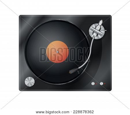 Vintage Vinyl Player, Turntable With Vinyl Disk, Top View