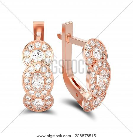 3d Illustration Isolated Rose Gold Three Stone Solitaire Diamond Earrings With Hinged Lock With Shad