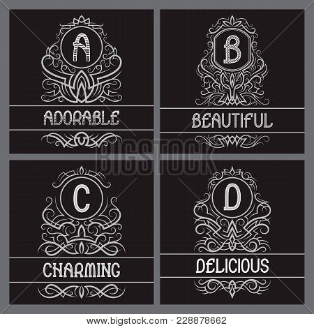 Vintage Monograms Set For Label Design. A, B, C, D Letters In Ornamental Frames With Text Fields.