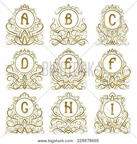 Golden Vintage Monograms Of Letters From A To I In Patterned Frames. Isolated Elements For Logo Desi