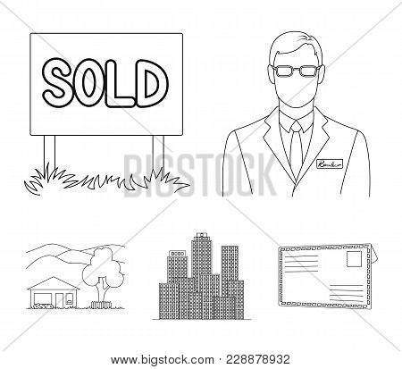 Employee Of The Agency, Sold, Metropolis, Country House. Realtor Set Collection Icons In Outline Sty