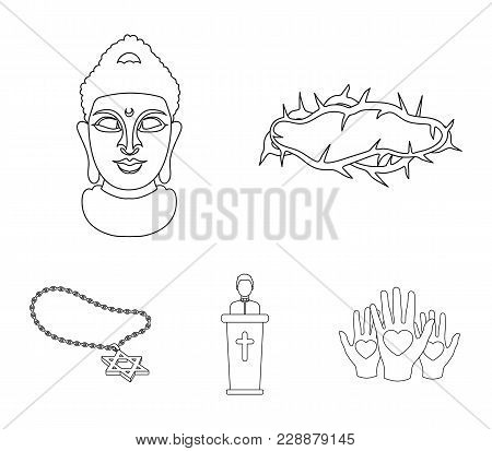 A Crown Of Thorns, A Star Of David, A Priest, A Buddha's Head. Religion Set Collection Icons In Outl