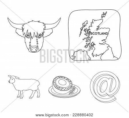 Territory On The Map, Bull's Head, Cow, Eggs. Scotland Country Set Collection Icons In Outline Style