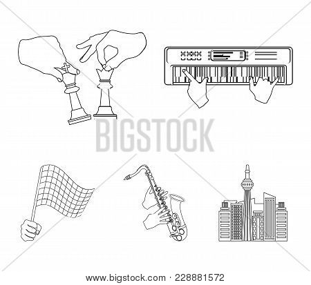 Playing On An Electric Musical Instrument, Manipulation With Chess Pieces And Other  Icon In Outline