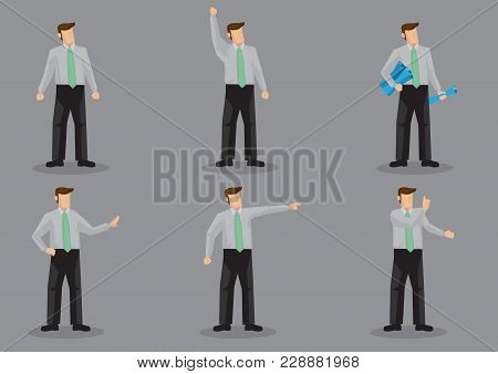 Cartoon Man Wearing Office Attire In Various Gestures. Set Of Six Vector Character Illustration Isol