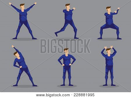 Set Of Six Vector Illustrations Of Cartoon Man In Blue One-piece Skin-tight Activewear Isolated On G