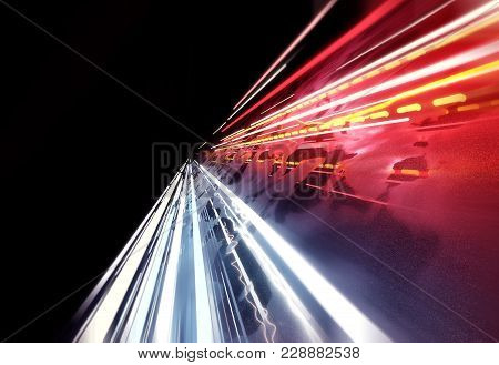 Streaming Car Light Trails Background. 3d Illustraion