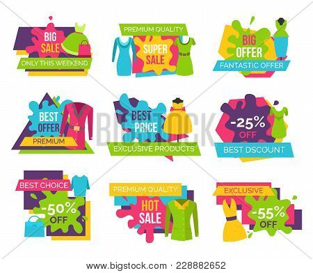 Women Clothing Store Set Of Advertising Labels With Elements Of Apparel For Woman, Cute Dresses Blou