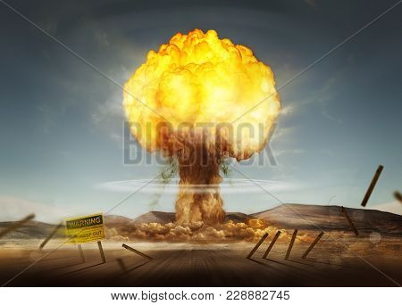 A Nuclear Explosion Creating A Mushroom Cloud. Mixed Media Illustration.