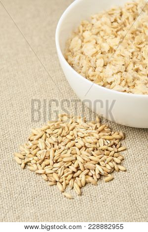 Oatmeal For Breakfast. Useful Tasty Porridge. Light Neutral Background.