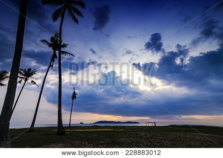 Beautiful Morning Scenery At Traditional Villages In Terengganu, Malaysia Over Sunrise Background