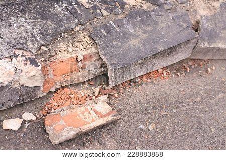 Old Cement. Ruined Bricks. Dark Gray Color.
