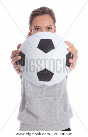 Young Soccer Player Teenage Girl With Sports Ball