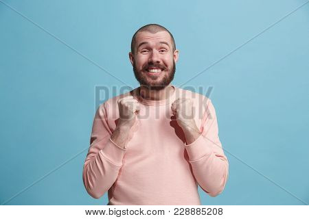 Happy Business Man Standing And Smiling Isolated On Blue Studio Background. Beautiful Male Half-leng