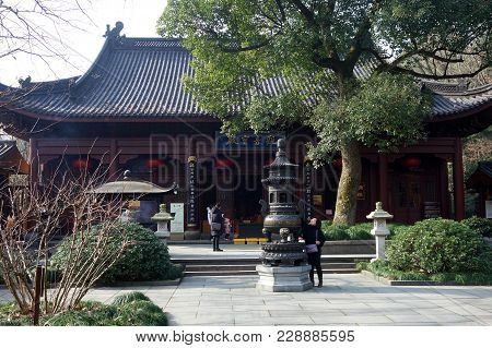 Hangzhou, China-jan 08, 2018: Traditional Architecture Of Ancient Chinese Lingyin Temple In Hangzhou