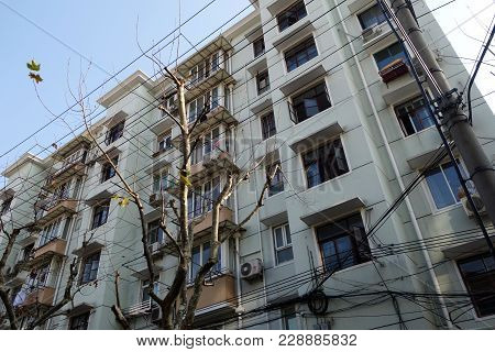 Shanghai, China- Jan 22, 2018: Old Residential Building In The Puxi District Of Shanghai City.