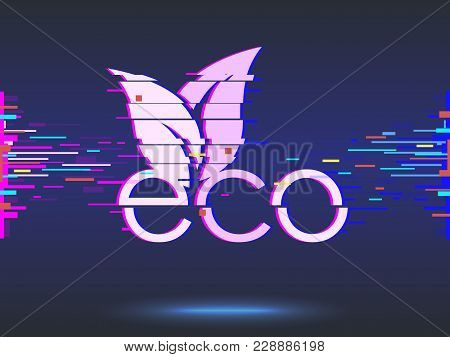 Eco Food, Organic Bio Products, Eco Friendly, Vegan Icon. Glitch Design, Neon Icon, Abstract Backgro