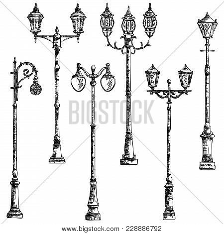 Set Vector Graphic Arts Sketch Of Drawing Vintage Artistic Decorative Lamppost (black Pen).