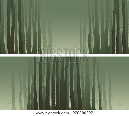 Set Of Abstract Horizontal Misty Banners With Many Tree Trunks In Green Tone.
